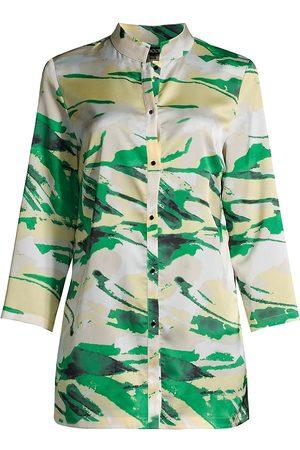Misook Women's Landscape Pattern Crepe De Chine Shirt Jacket - Island - Size Small