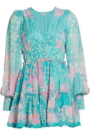 Hemant & Nandita Women's Floral Long-Sleeve Georgette Mini Dress - Cyan - Size Medium