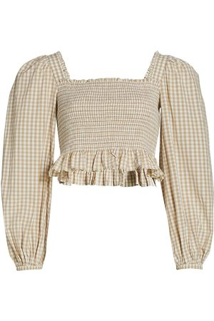 by Ti Mo Women's Smocked Gingham Top - Checks - Size Small