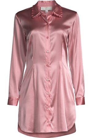 FLEUR DU MAL Women's Ruffle Collar Sleep Shirtdress - Lady - Size 4