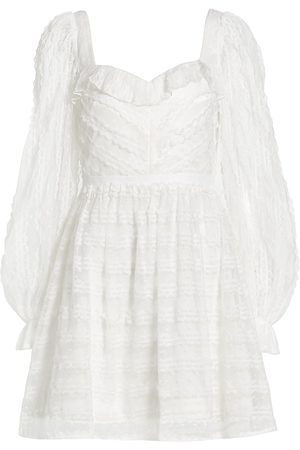 Ml Monique Lhuillier Women's Bishop-Sleeve Mini Dress - Procelain - Size 12