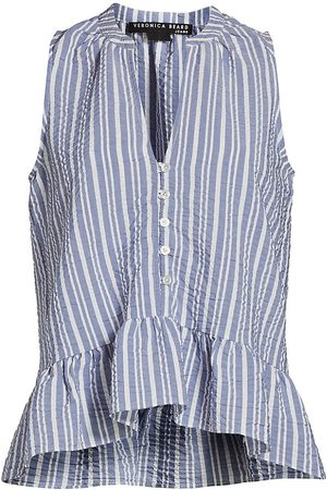 VERONICA BEARD Women's Antonina Sleeveless Striped Ruffle Shirt - - Size Large