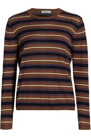 Max Mara Women's Marmo Crewneck Cashmere Sweater - Tobacco Marine Stripe - Size Small