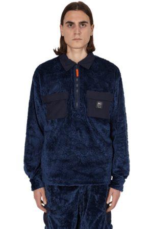Brain Dead Debossed paisley fur half zip shirt NAVY S