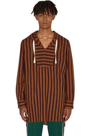 WALES BONNER Kingston dashiki hoodie MAROON/RUST S