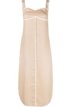 12 STOREEZ Women Summer Dresses - Contrast trim sundress - Neutrals
