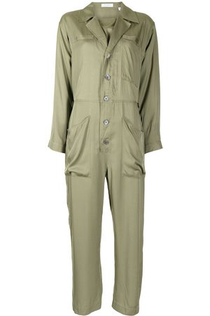 Equipment Almira button-front jumpsuit - VERT MILITAIRE