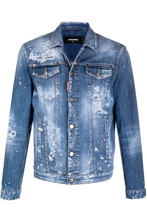 Dsquared2 Paint-splatter distressed denim jacket