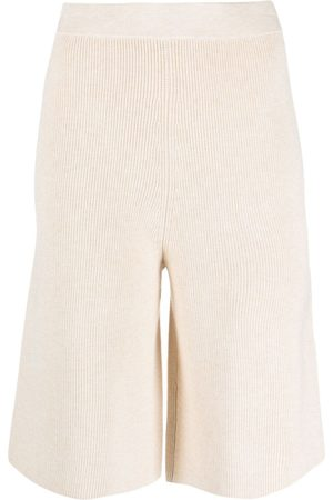 12 STOREEZ Knitted knee-length shorts - Neutrals