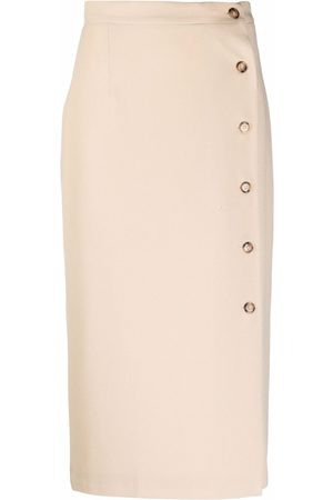 12 STOREEZ Side-button midi skirt - Neutrals