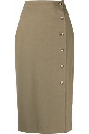 12 STOREEZ Side-button midi skirt