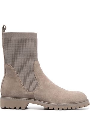 12 STOREEZ Rib-knit ankle Chelsea boots - Neutrals