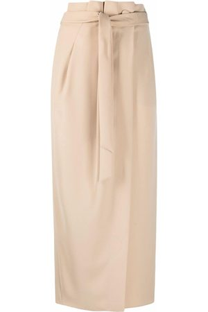 Emporio Armani Women Asymmetrical Skirts - Sash-belt wrap skirt - Neutrals