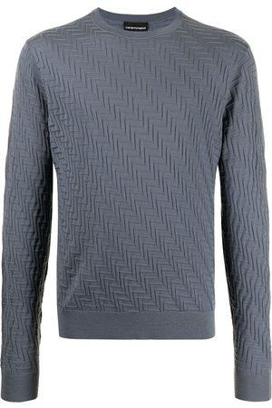 Emporio Armani Men Sweatshirts - Geometric-effect knitted jumper