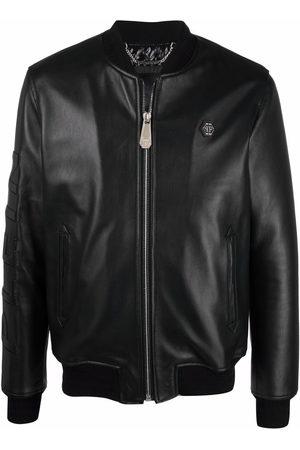 Philipp Plein Men Leather Jackets - Embossed-logo leather jacket