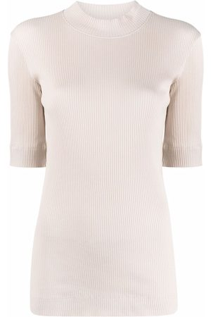 Brunello Cucinelli Women Sweaters - Ribbed-knit mock neck sweater - Neutrals