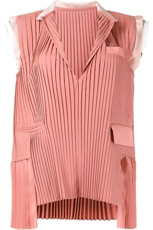SACAI Women Tank Tops - Pleated sleeveless blouse