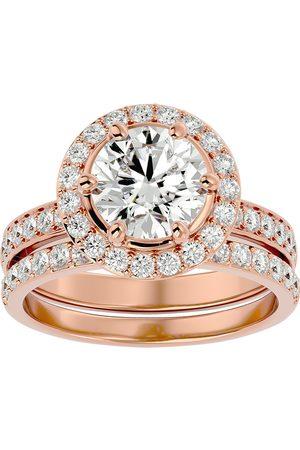 SuperJeweler 3 Carat Halo Diamond Bridal Engagement Ring Set in 14K (7.1 g)