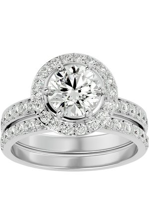 SuperJeweler Women Rings - 2.5 Carat Halo Diamond Bridal Engagement Ring Set in 14K (7 g)