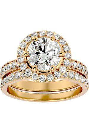 SuperJeweler 3 Carat Halo Diamond Bridal Engagement Ring Set in 14K (7.1 g) (