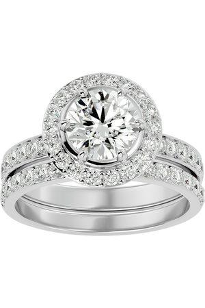 SuperJeweler 2.5 Carat Moissanite Halo Bridal Engagement Ring Set in 14K (7 g)
