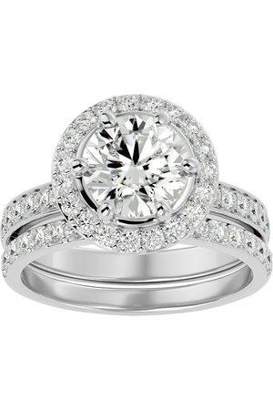 SuperJeweler 3 Carat Moissanite Halo Bridal Engagement Ring Set in 14K (7.1 g)