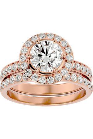 SuperJeweler 2.5 Carat Halo Diamond Bridal Engagement Ring Set in 14K (7 g)