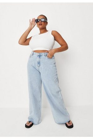 Missguided Recycled Plus Size Light Bleach Wide Straight Leg Jeans
