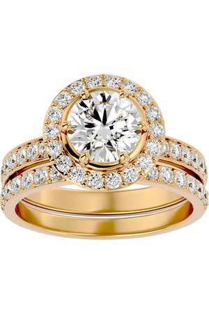 SuperJeweler Women Rings - 2.5 Carat Moissanite Halo Bridal Engagement Ring Set in 14K (7 g)