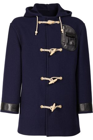 Maison Margiela Wool Duffle Coat W/faux Leather Details