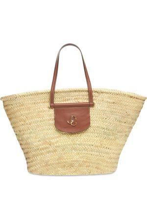 Jimmy Choo Women Tote Bags - Macy Raffia & Leather Tote Bag