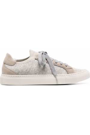 Brunello Cucinelli Women Sneakers - Embellished suede-trim sneakers - Grey