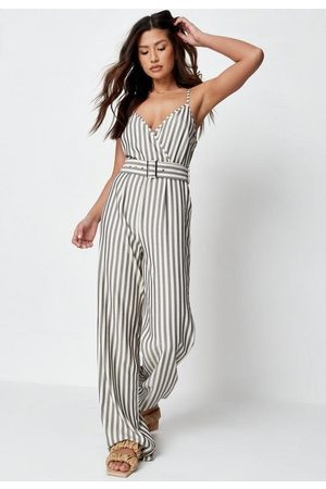 Missguided Women T-shirts - Stripe Wrap Front Belted Romper