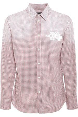 Dsquared2 Men Shirts - Logo Print Micro Check Cotton Shirt