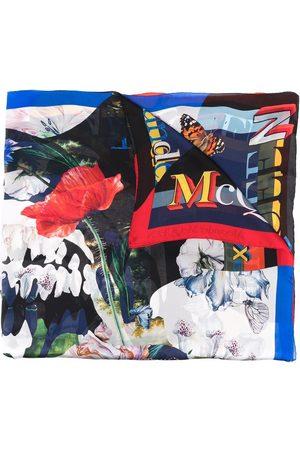 Alexander McQueen Rose print silk scarf