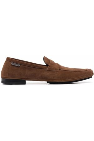 Tom Ford Men Loafers - Almond toe logo tab loafers