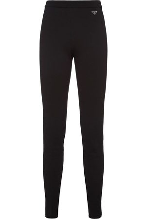 Prada Women Leggings - Logo-plaque leggings
