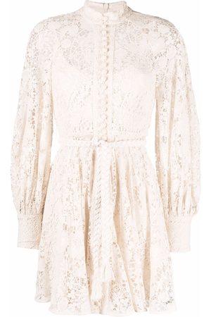 ZIMMERMANN Women Casual Dresses - Lace-patterned shirt dress - Neutrals
