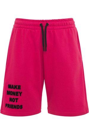 MAKE MONEY NOT FRIENDS Logo Neon Cotton Jersey Sweat Shorts
