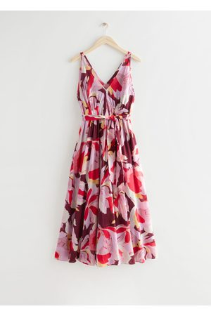& OTHER STORIES Belted Floral Print Midi Dress