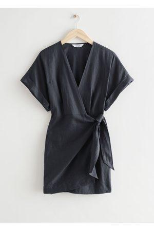 & OTHER STORIES Linen Wrap Mini Dress - Grey