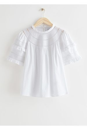 & OTHER STORIES Embroidered A-Line Ruffle Top
