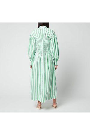 Ganni Women Midi Dresses - Women's Smock Stripe Cotton Dress
