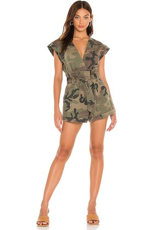 Marissa Webb Dixon Paper Bag Vintage Washed Romper in Army.