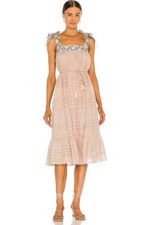 Cleobella Cassandra Midi Dress in Peach.