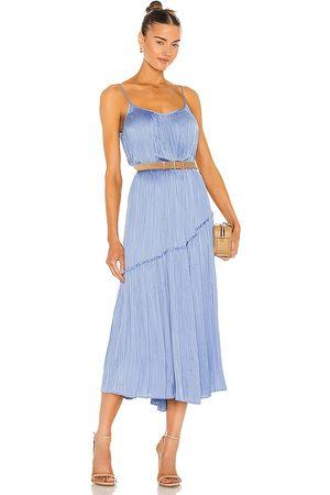 Vince Tiered Asymmetric Dress in Blue.