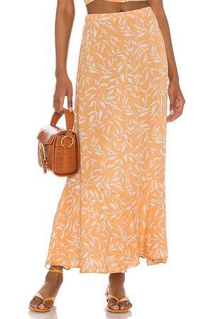 Amuse Society Reina Woven Maxi Skirt in Orange.