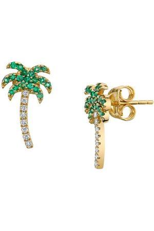 Sydney Evan Diamond & Emerald Palm Tree Stud Earrings