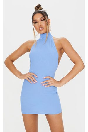 PRETTYLITTLETHING Ribbed High Neck Extreme Open Back Bodycon Dress