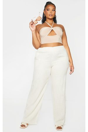 PRETTYLITTLETHING Plus Stone Cut Out Halterneck Crop Top